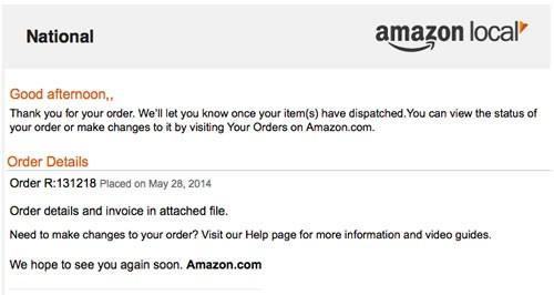 Amazon Local を装ったメール