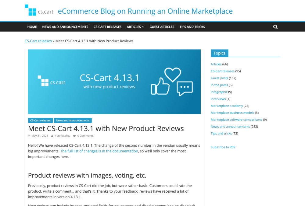 Meet CS-Cart 4.13.1 with New Product Reviews