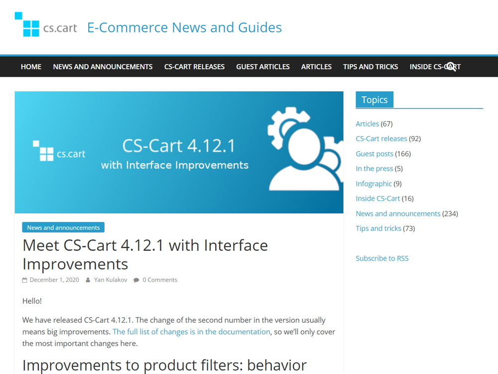 Meet CS-Cart 4.12.1 with Interface Improvements