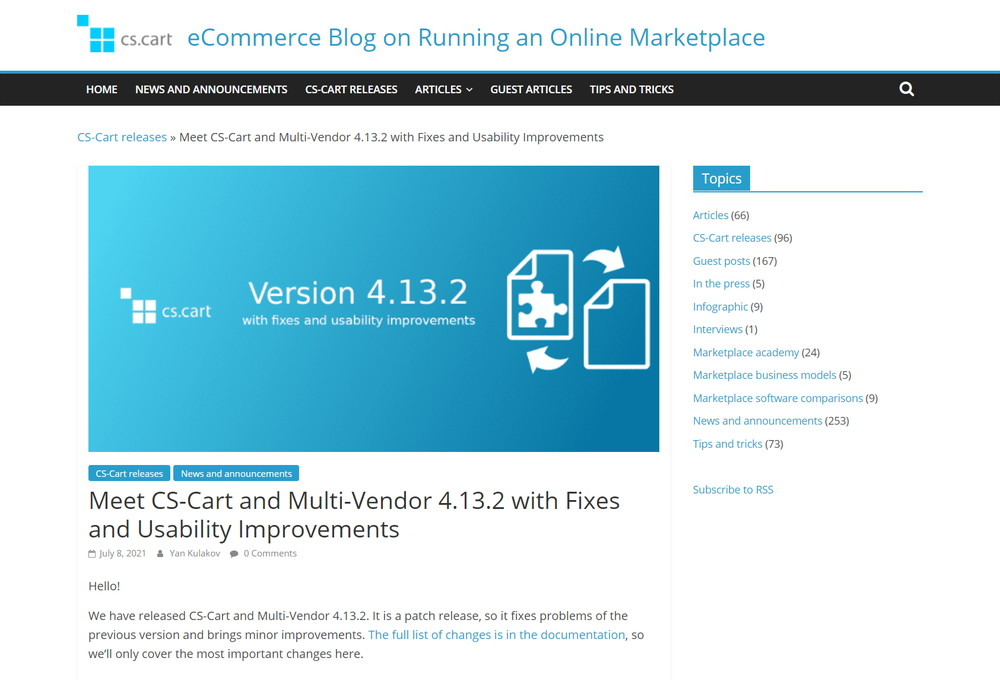 Meet CS-Cart and Multi-Vendor 4.13.2 with Fixes and Usability Improvements
