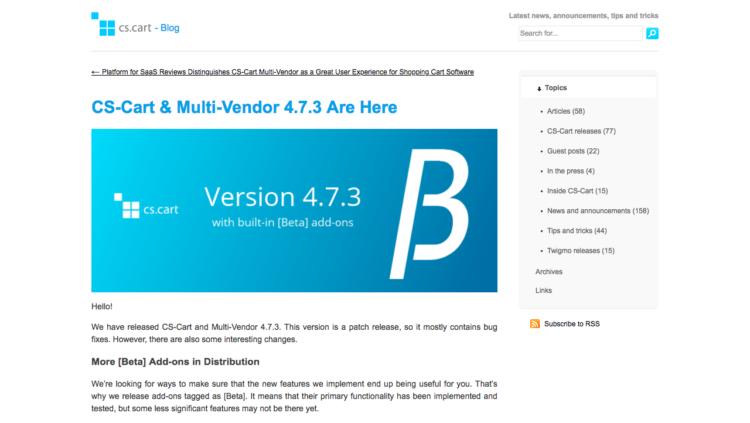 CS-Cart & Multi-Vendor 4.7.3