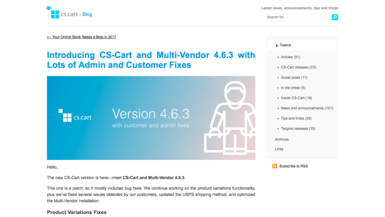 CS-Cart and Multi-Vendor 4.6.3