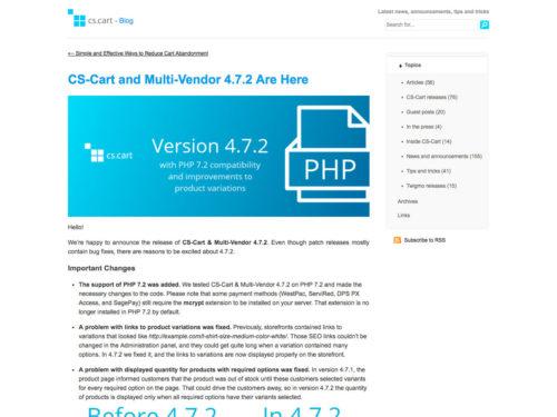 CS-Cart and Multi-Vendor 4.7.2