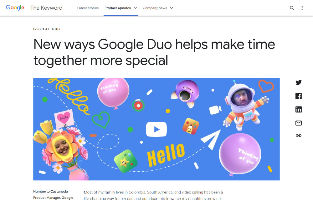 New ways Google Duo helps make time together more special