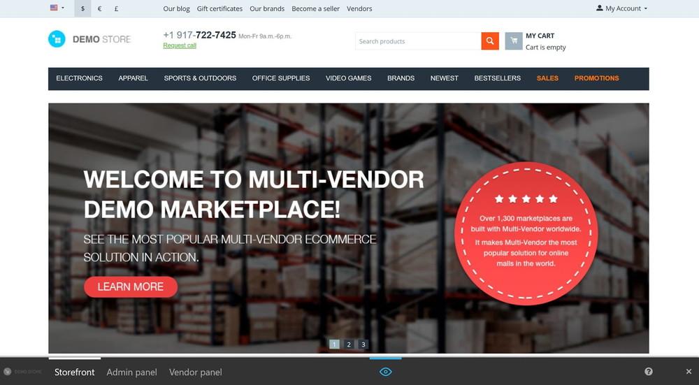 Multi-Vendorのデモ画面