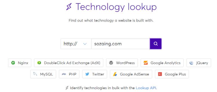 Wappalyzer Technology lookup