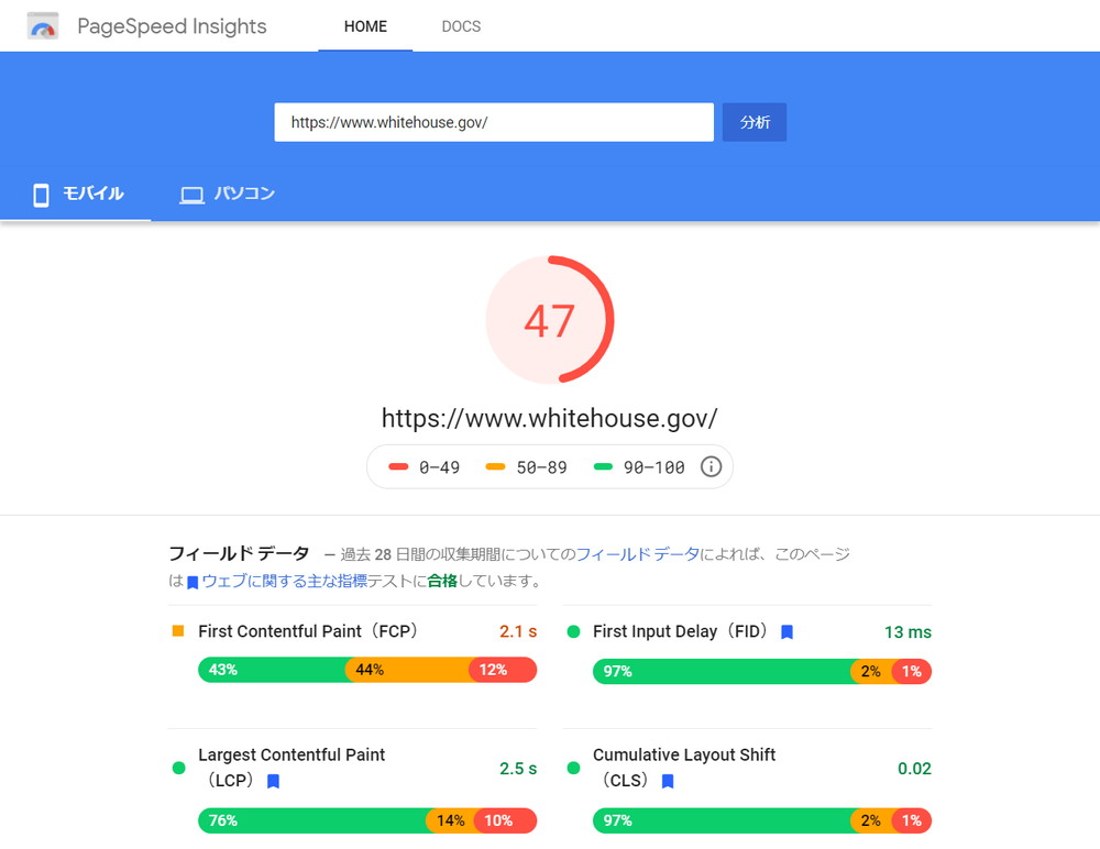 PageSpeed Insight:ホワイトハウス SP