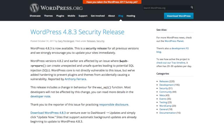 WordPress 4.8.3 Security Release