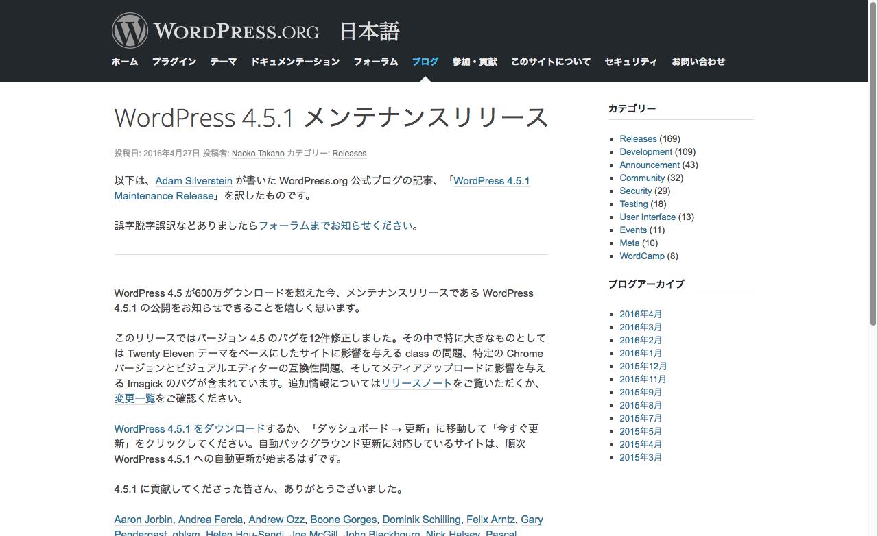 WordPress 4.5.1