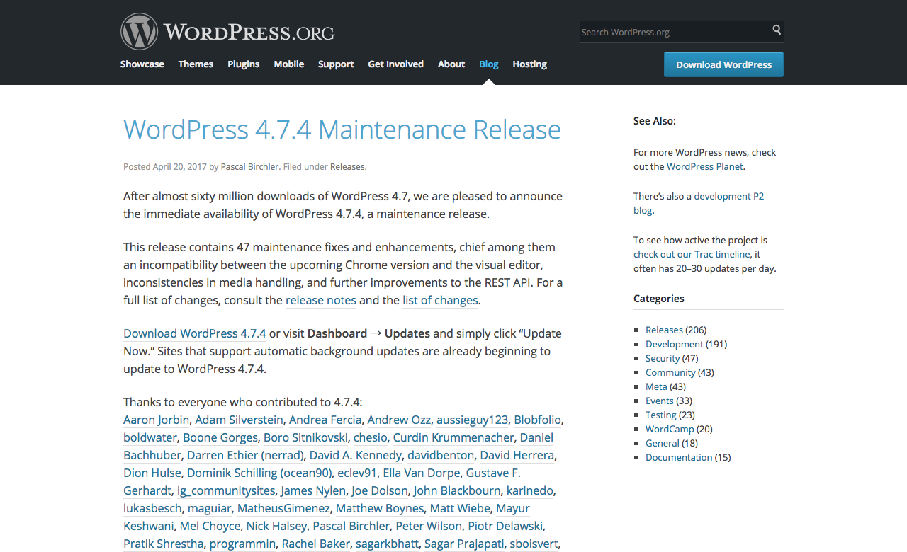WordPress 4.7.4 Maintenance Release
