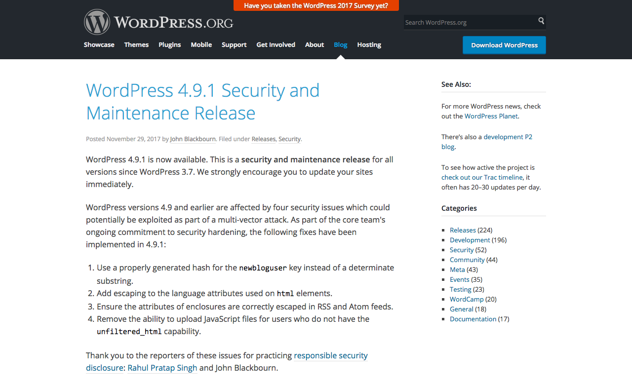 WordPress 4.9.1 Security and Maintenance Release