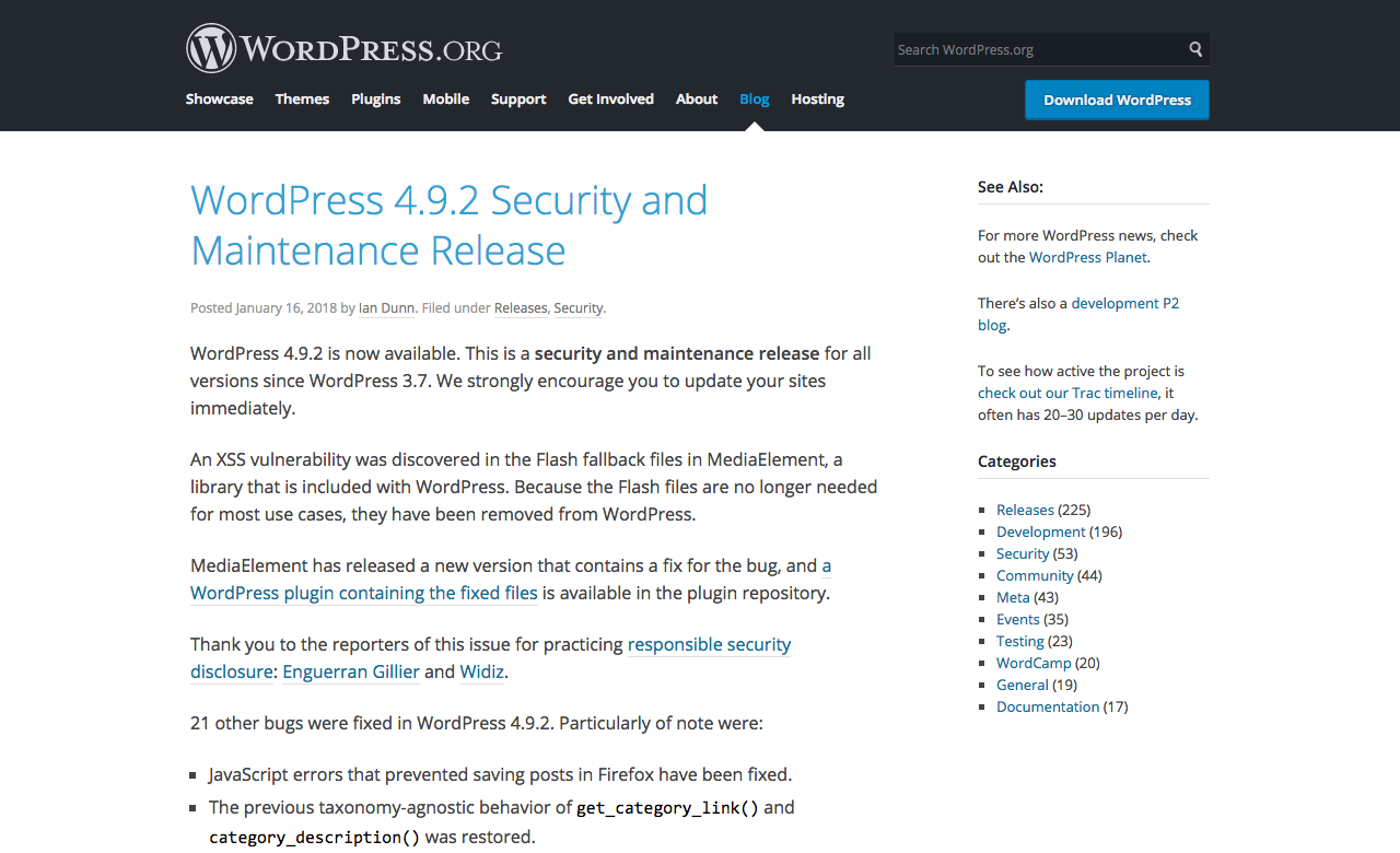 WordPress 4.9.2 Security and Maintenace release