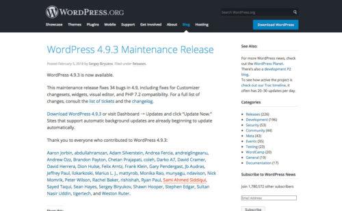 WordPress 4.9.3 Maintenance Release