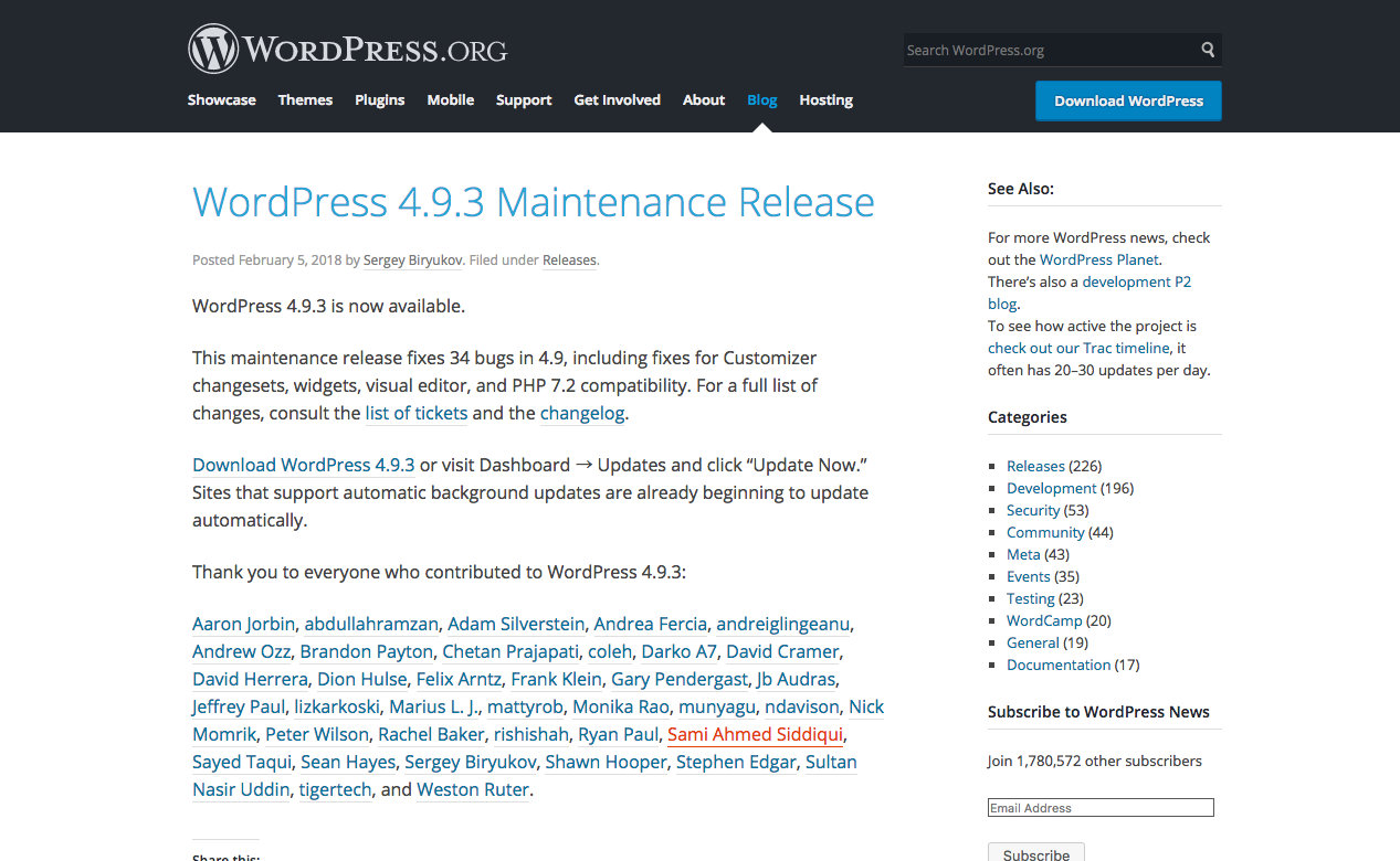 WordPress 4.9.3 Maintenance Release