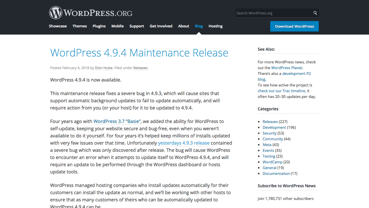WordPress 4.9.4 Maintenance Release