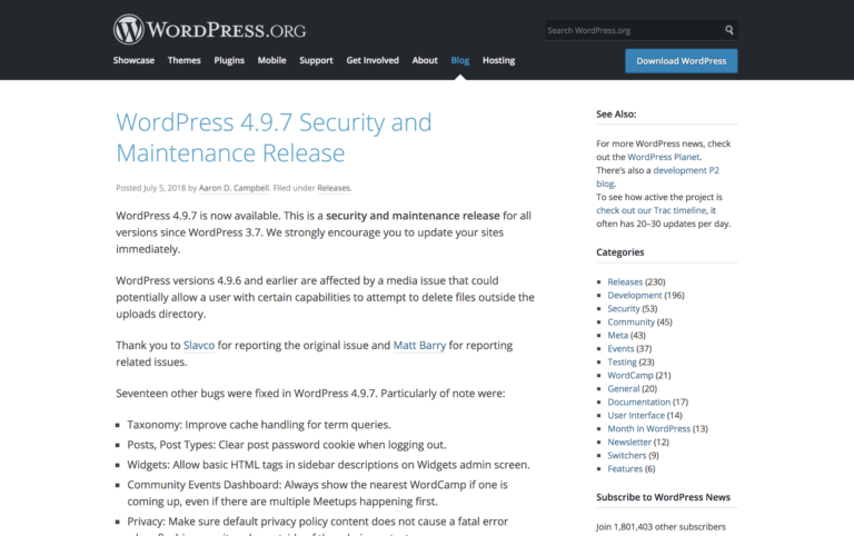 WordPress 4.9.7 Security and Maintenance Release