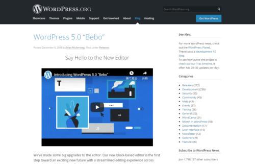 WordPress 5.0 Bebo