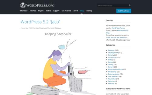 WordPress 5.2 Jaco
