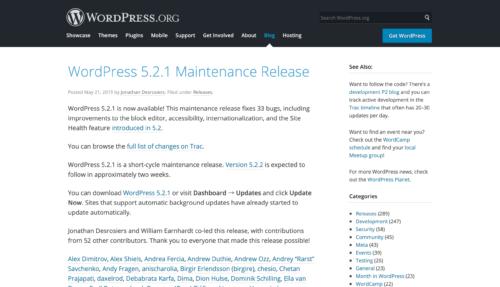 WordPress 5.2.1 Maintenance Release
