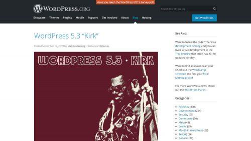 "WordPress 5.3 ""Kirk"""