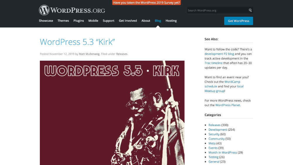 "WordPress 5.3 ""Kirk"""