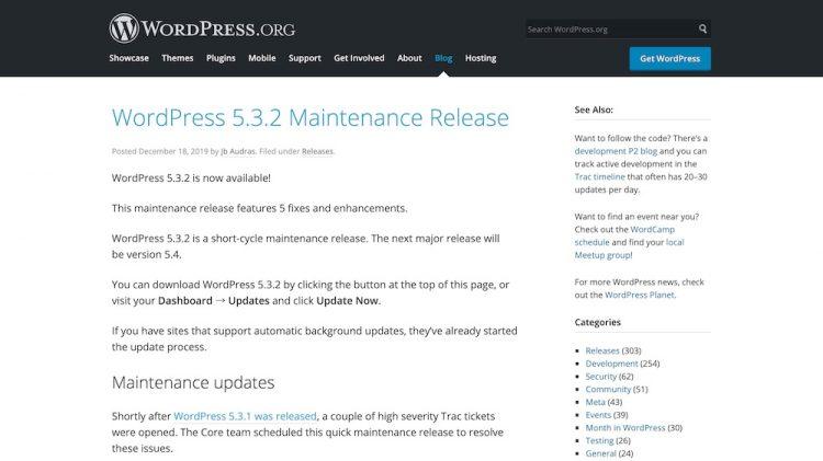 WordPress 5.3.2 Maintenance Release