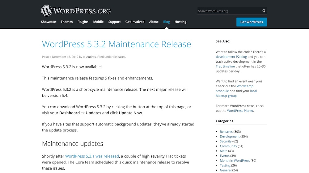WordPress 5.3.2 Maintenance Release