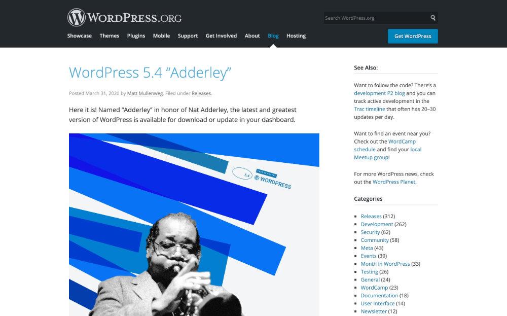 WordPress 5.4 ��dderley�� class=