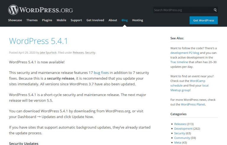 WordPress 5.4.1
