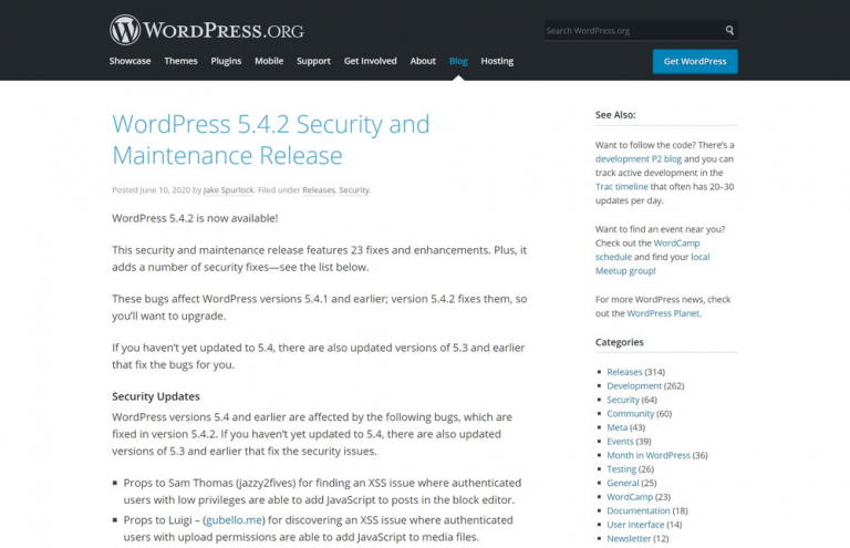 WordPress 5.4.2 Security and Maintenance Release