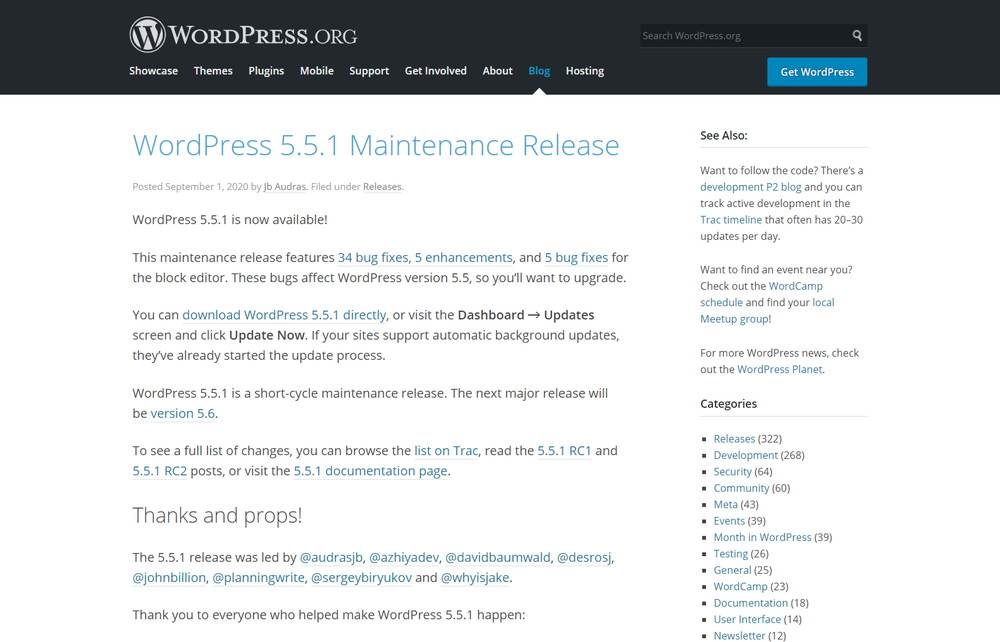 WordPress 5.5.1 Maintenance Release