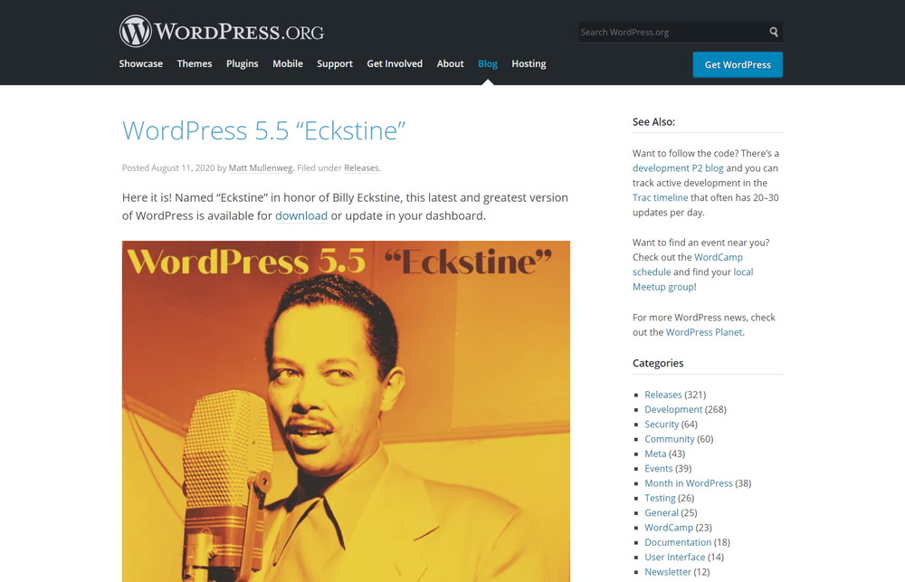 "WordPress 5.5""Eckstine"""