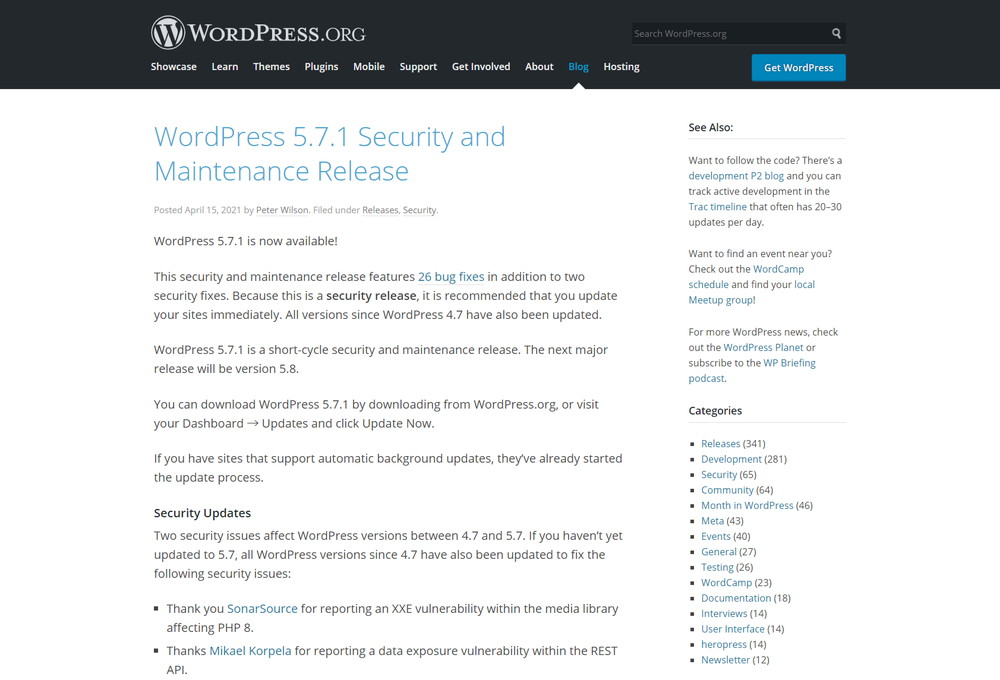 WordPress 5.7.1 Security and Maintenance Release