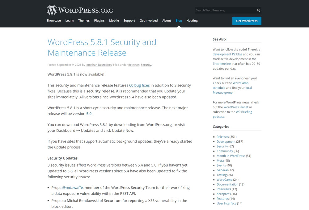 WordPress 5.8.1 Security and Maintenance Release
