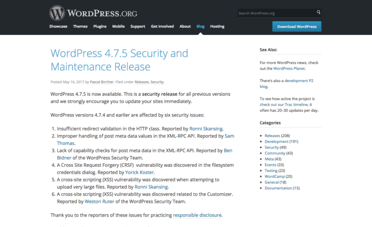 Wordpress 4.7.5