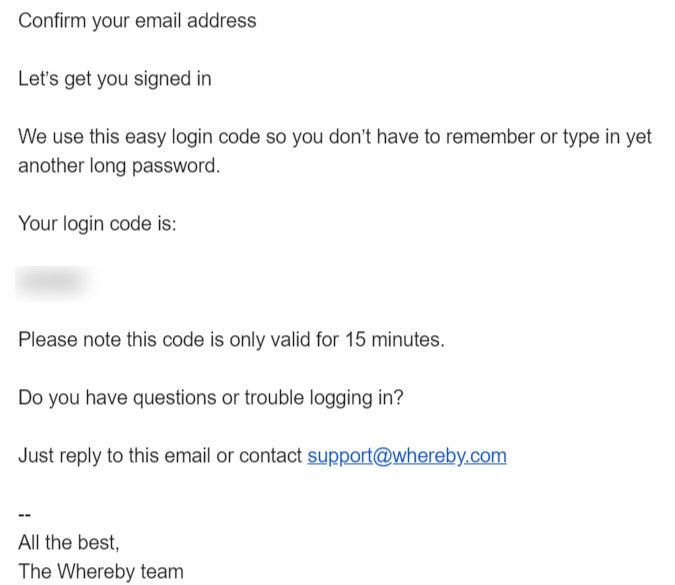 Login Codeがメールで届く
