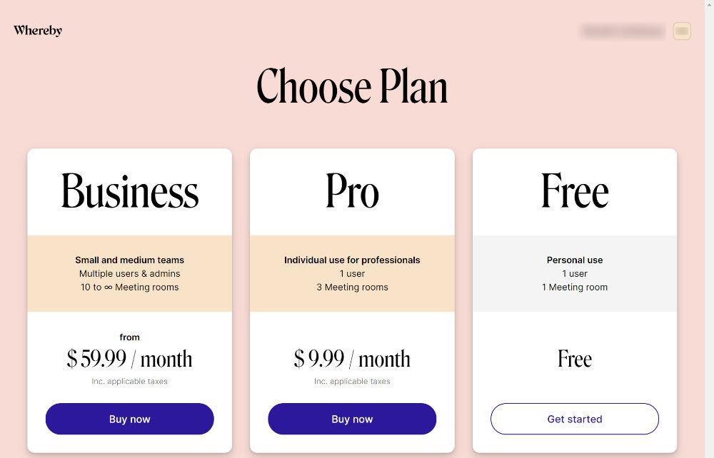 Chose Plan画面