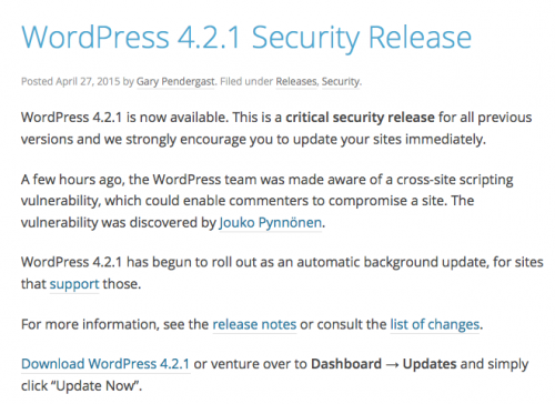 WordPress 4.2.1 Security Release